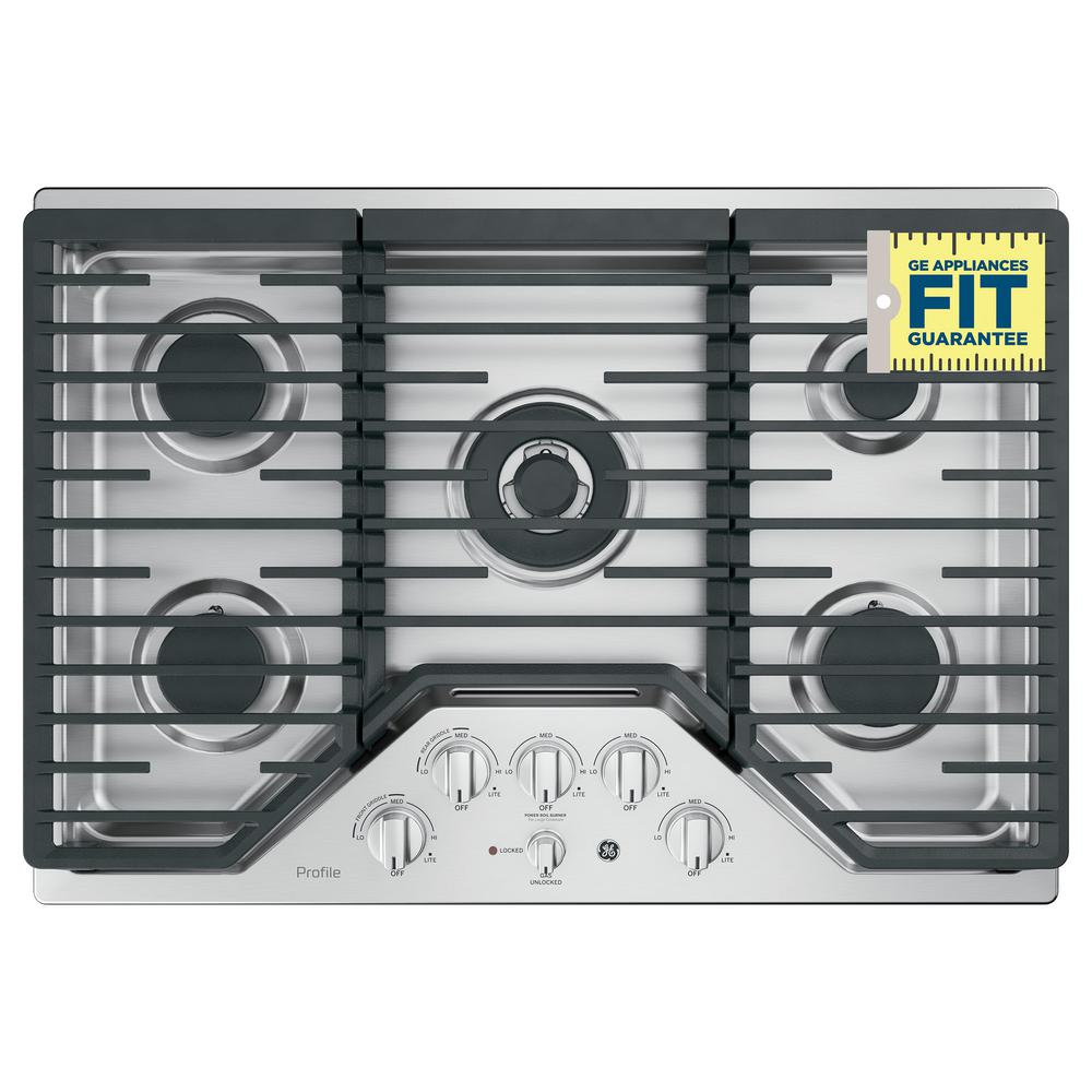 Profile 30 in. Gas Cooktop in Stainless Steel with 5 Burners