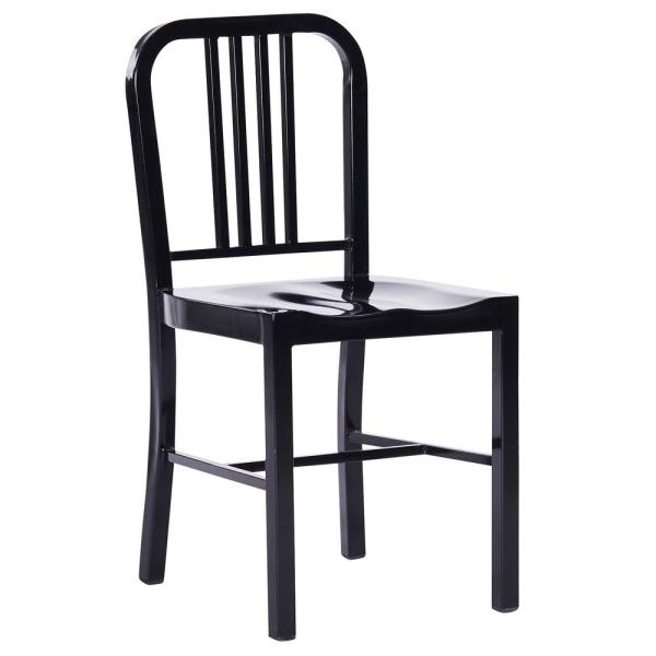 Industrial Black Metal Indoor Dining Chair (Set of 2)