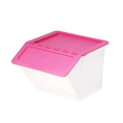 Patented Pelican Series 23 Qt. Stackable and Nestable Storage Box with 2-Stage Lid in Pink