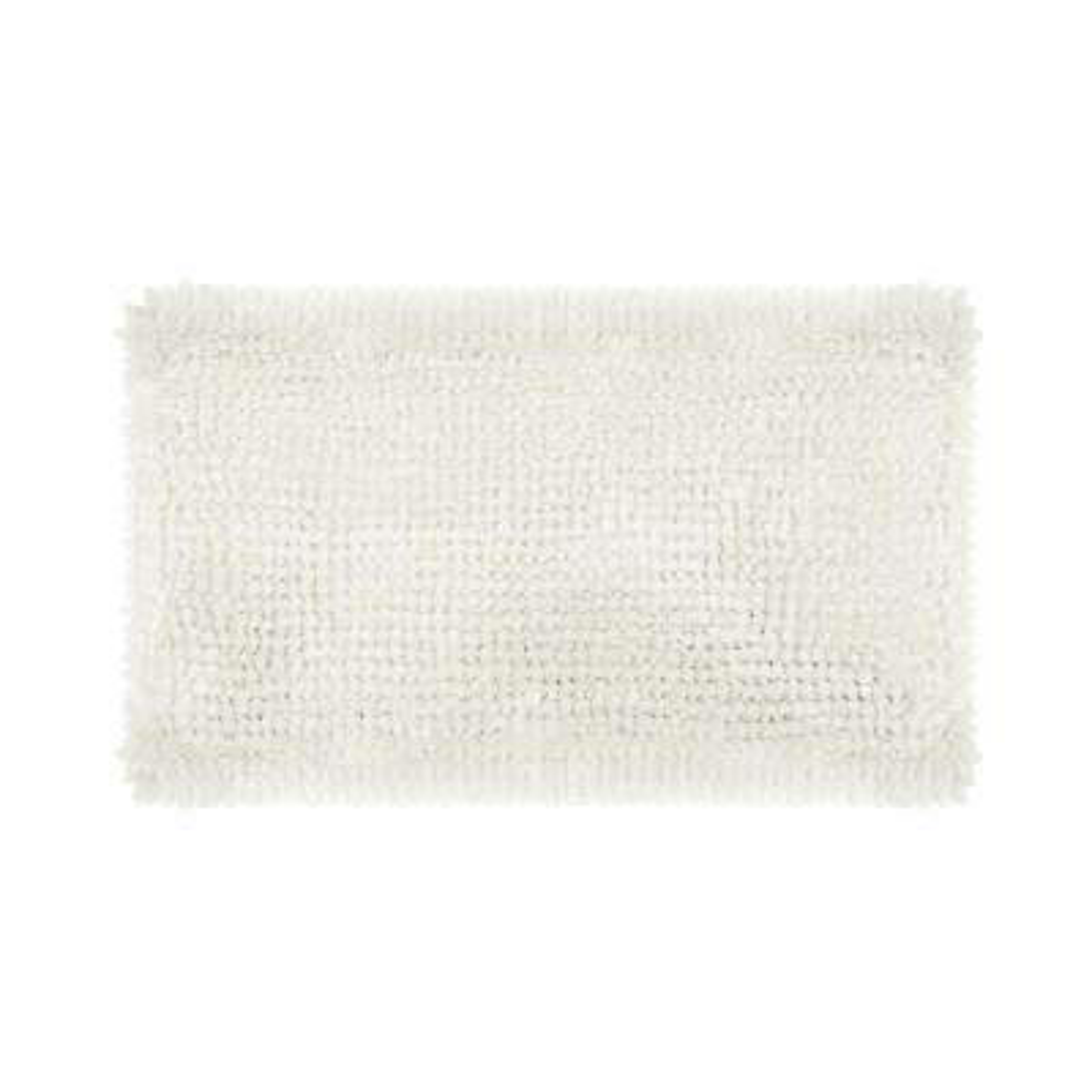 Butter Chenille 27 in. x 45 in. Bath Mat in White