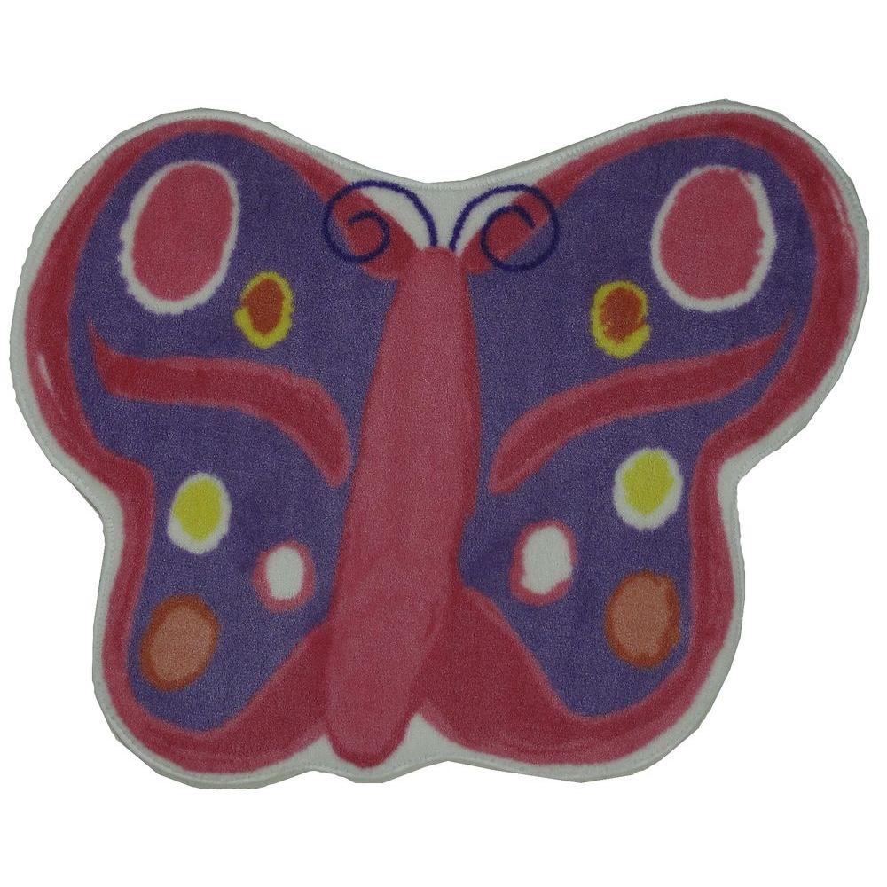 LA Rug Fun Time Shape Butterfly Multi Colored 35 in. x 39 in. Area Rug