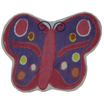 Fun Time Shape Butterfly Multi Colored 3 ft. x 3 ft. Area Rug