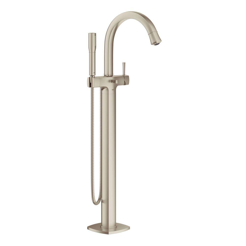 Grandera Single Handle Floor Standing Roman Tub Faucet in Brushed Nickel