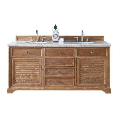 Savannah 72 in. W Double Vanity in Driftwood with Marble Vanity Top in Carrara White with White Basin
