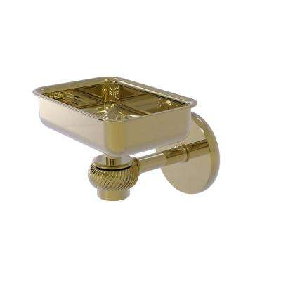 Satellite Orbit One Wall Mounted Soap Dish with Twisted Accents in Unlacquered Brass