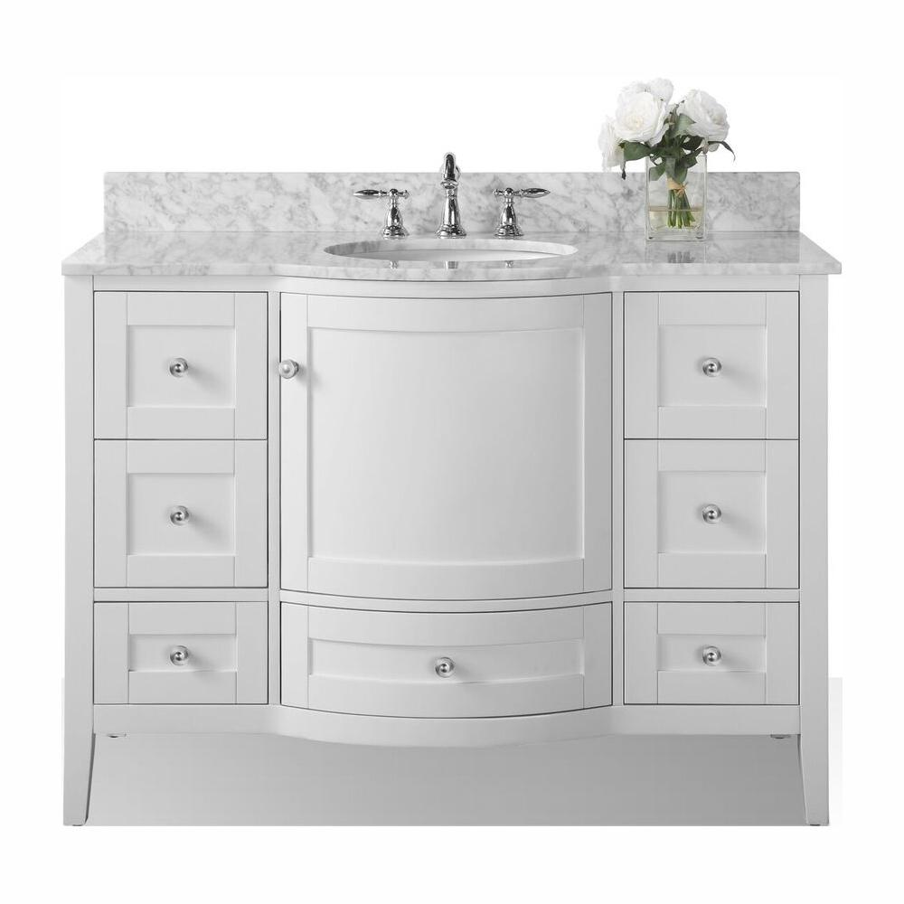 Ancerre Designs Lauren 48 in. W x 22 in. D Vanity in White with Marble Vanity Top in Carrara White with White Basin