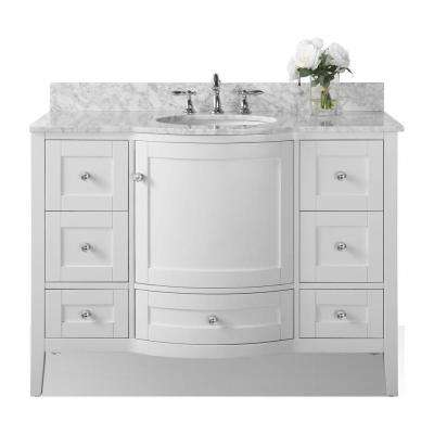Lauren 48 in. W x 22 in. D Vanity in White with Marble Vanity Top in Carrara White with White Basin