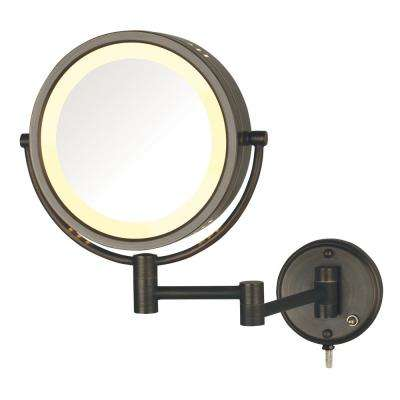 8.5 in. Lighted Wall Makeup Mirror in Bronze, Corded