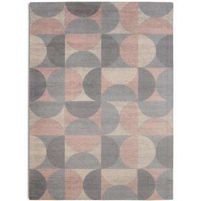 Crescent Moon Mid-Century Modern Geometric Grey 7 ft. 6 in. x 9 ft. 6 in.  Area Rug