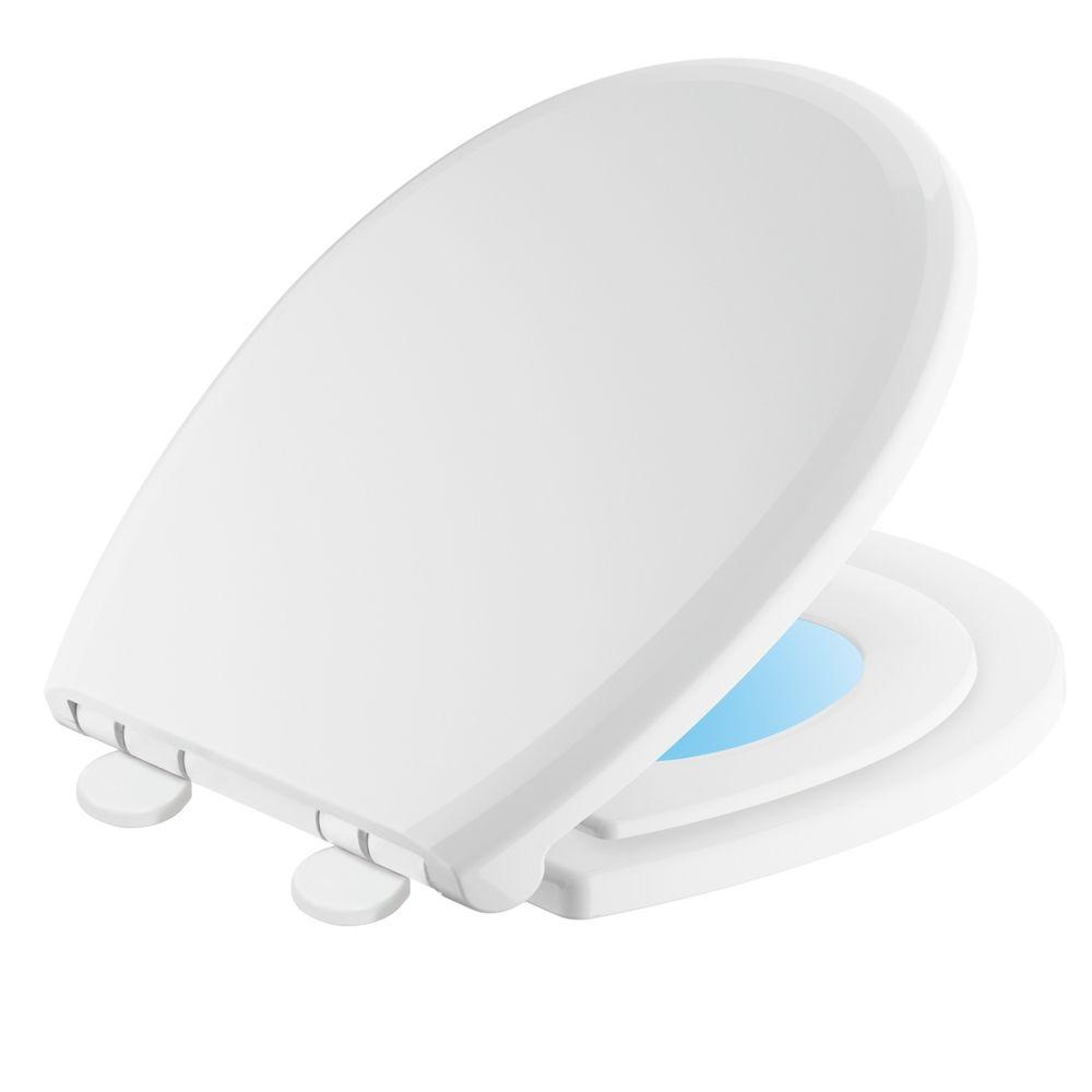 Delta Sanborne Potty-Training Round Closed Front Toilet Seat with NightLight in White
