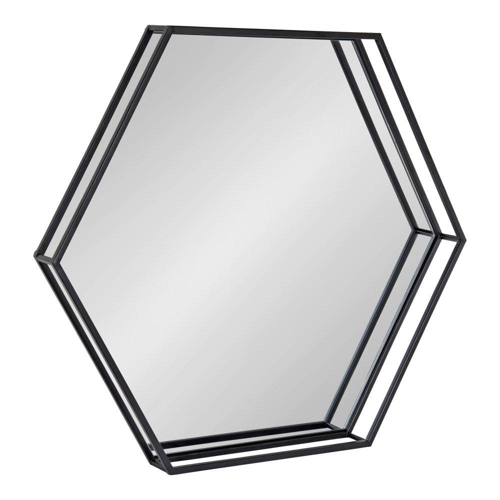 Medium Novelty Black Modern Mirror (26 in. H x 30 in. W)