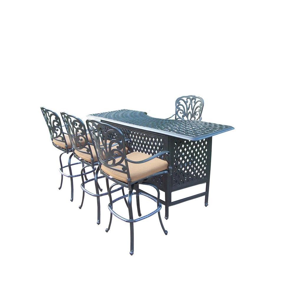 Cast Aluminum 5-Piece Patio Service Bar Set with Sunbrella Cushions