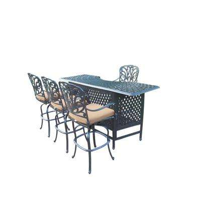 Cast Aluminum 5-Piece Patio Service Bar Set with Sunbrella Cushions