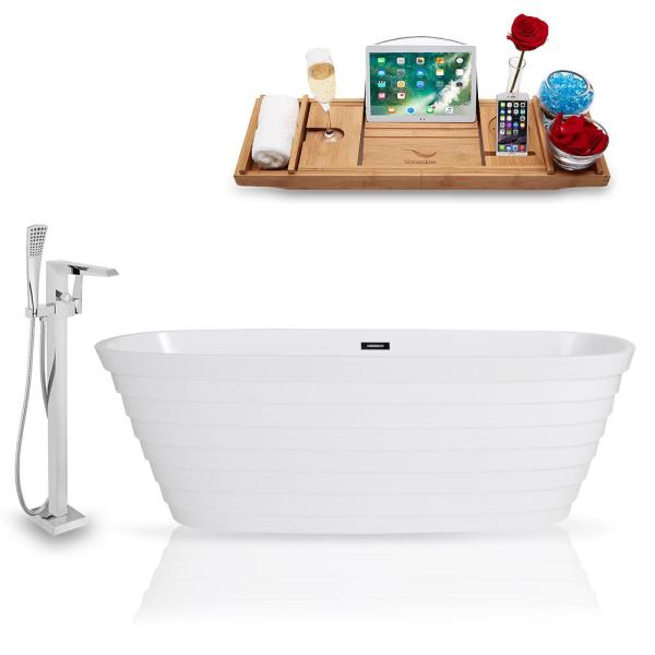 Tub, Faucet, and Tray Set 67 in. Solid Surface Resin Flatbottom Non-Whirpool Bathtub in Glossy White