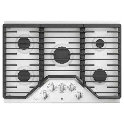 30 in gas cooktop in white with 5burners