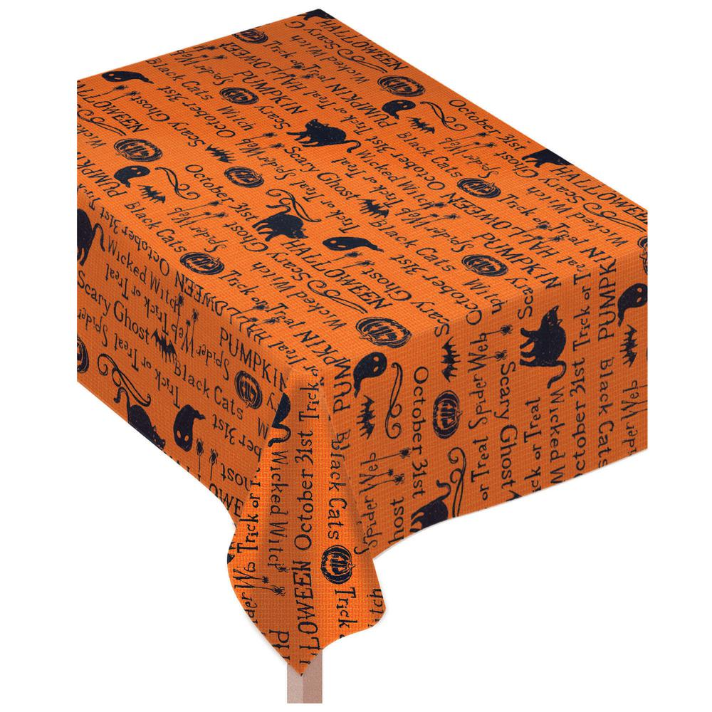 amscan 84 in. x 0.1 in. x 60 in. fabric halloween wicked words table