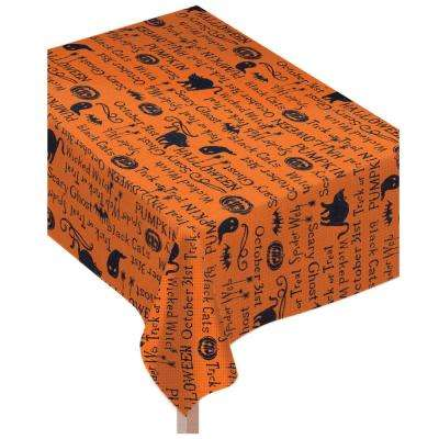 84 in. x 0.1 in. x 60 in. Fabric Halloween Wicked Words Table Cover