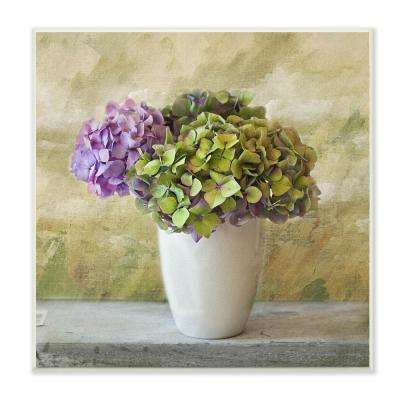 "12 in. x 12 in. ""Floral Textural Purple Hydrangea"" by In House Artist Wood Wall Art"