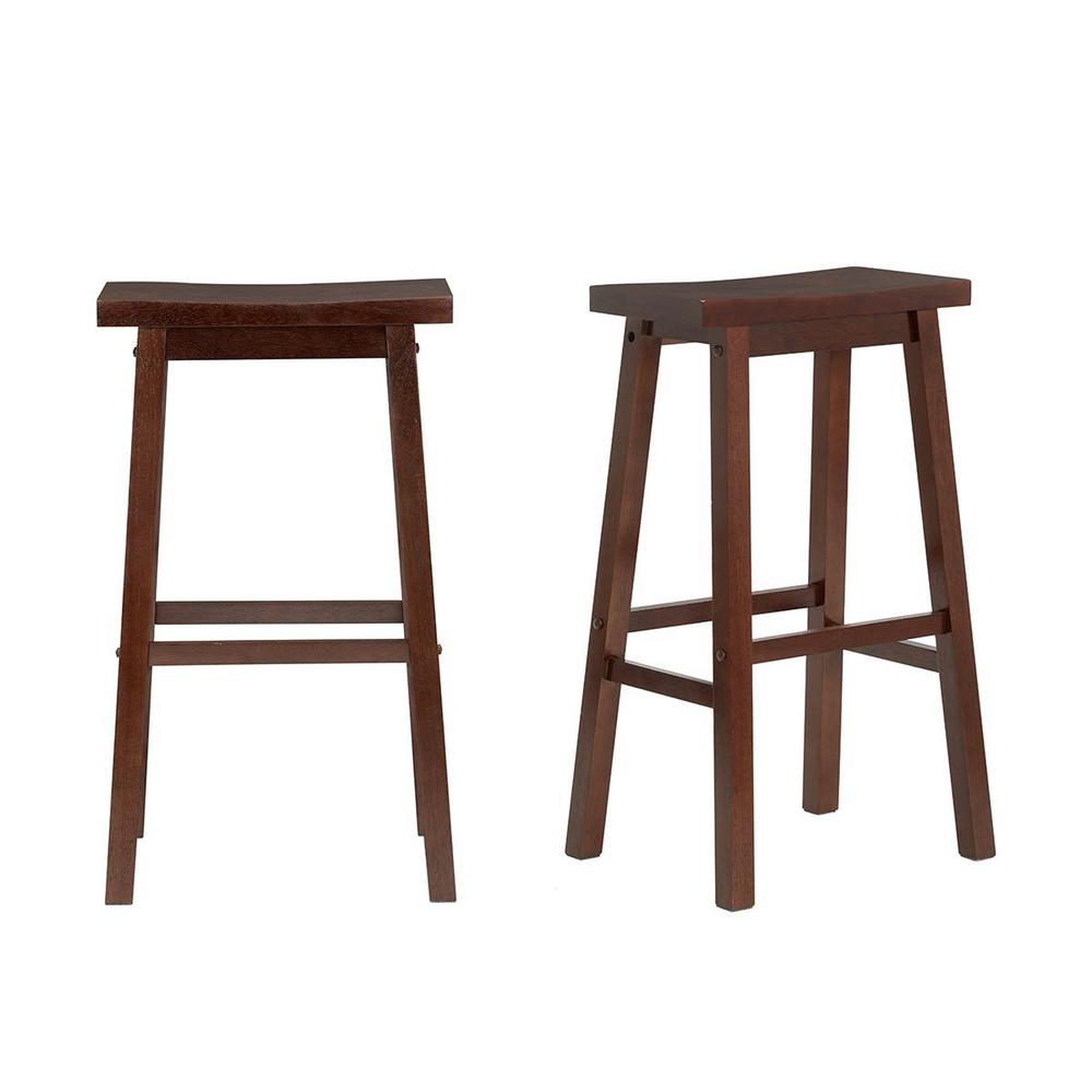 StyleWell Walnut Finish Saddle Backless Bar Stool (Set of 2) (16.33 in. W x 29 in. H), Brown was $89.0 now $53.4 (40.0% off)