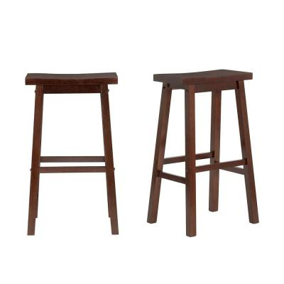 StyleWell Walnut Finish Saddle Backless Bar Stool (Set of 2) (16.33 in. W x 29 in. H)