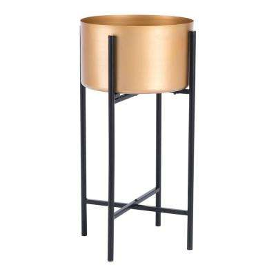 9.8 in. W x 9.8 in. D x 20.5 in. H Metal Gold Planter