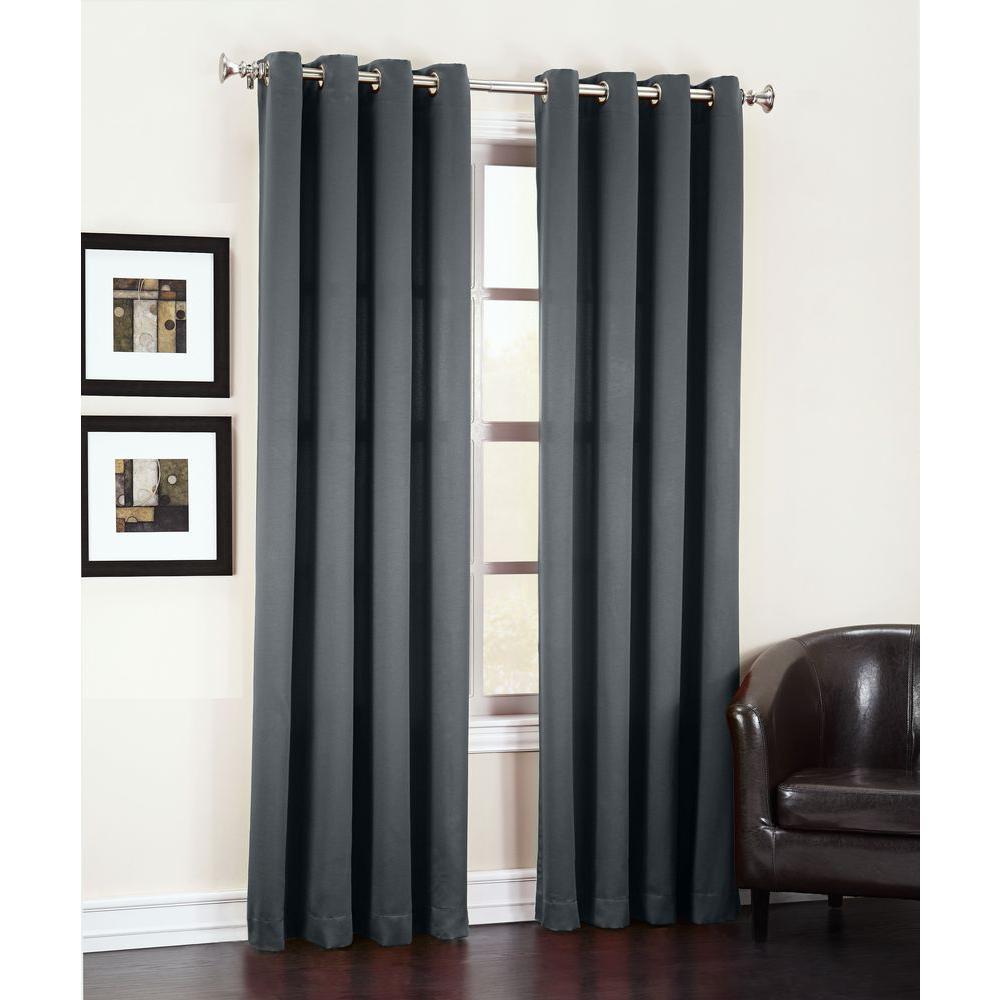 Semi-Opaque Black Gregory Room Darkening Grommet Top Curtain Panel, 54 in. W x 63 in. L
