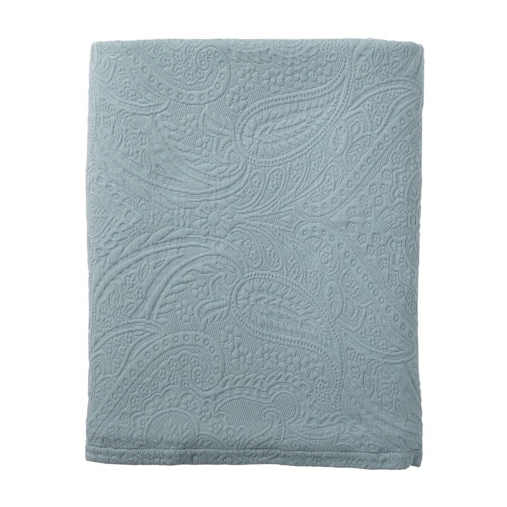 The Company Store Hillcrest Matelasse Smoke Blue Queen Coverlet 50172Q-Q-SMK-BLUE