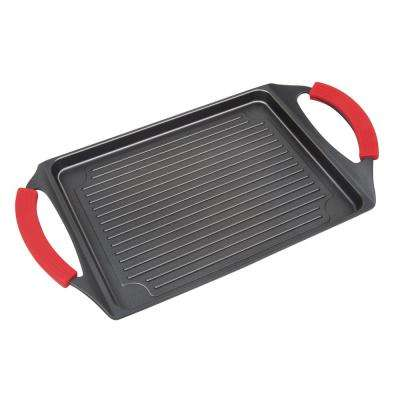 17 in. Cast Aluminum Burner Grill Pan with Silicone Grips in Black