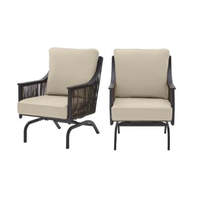 Bayhurst Black Wicker Outdoor Patio Rocking Lounge Chair with CushionGuard Putty Tan Cushions (2-Pack)