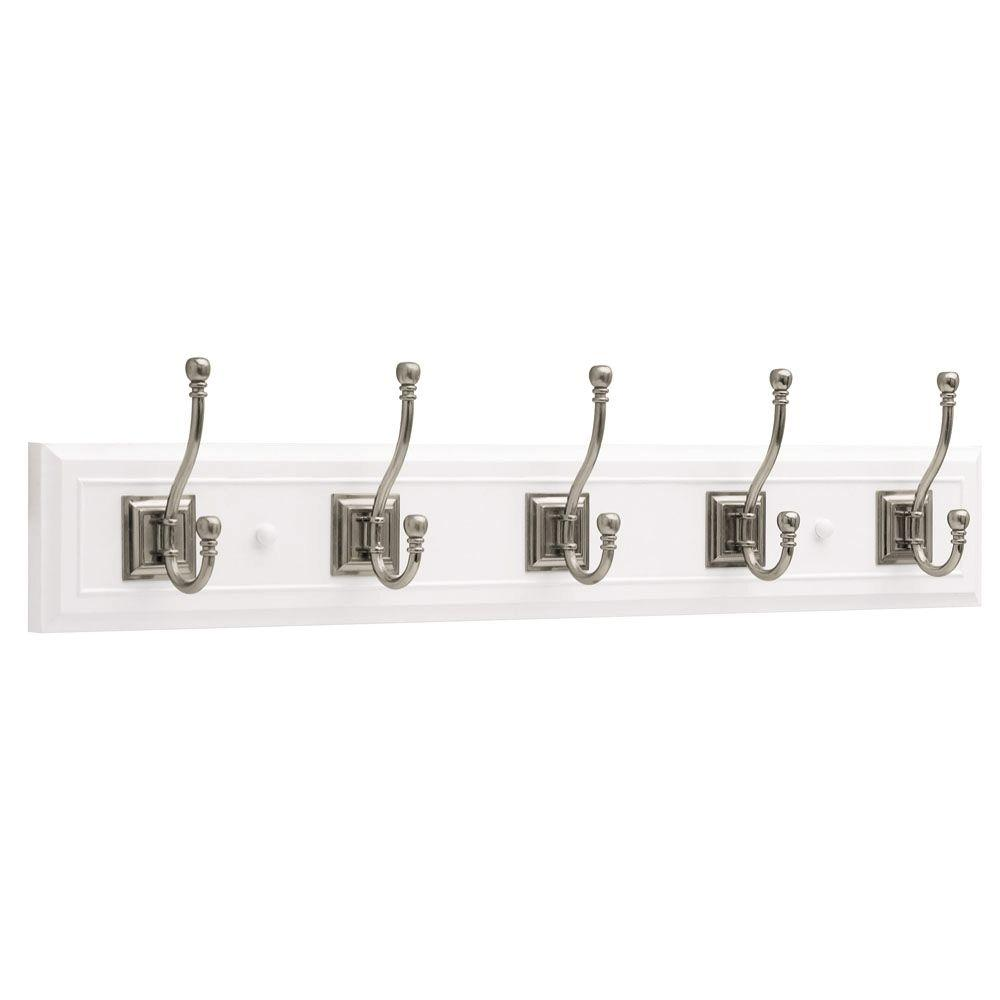 27 in. White and Satin Nickel Architectural Coat and Hat Hook