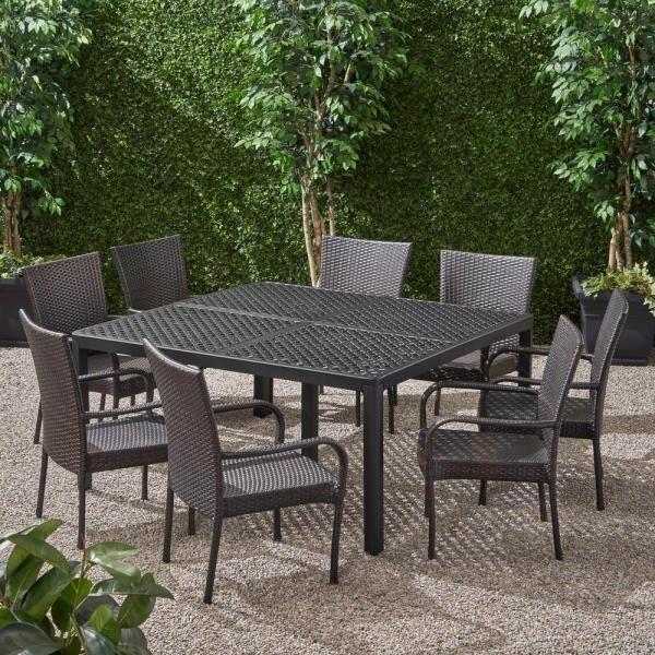 Noble House Bullpond Matte Black 9 Piece Aluminum And Wicker Square Table Outdoor Dining Set 68257 The Home Depot