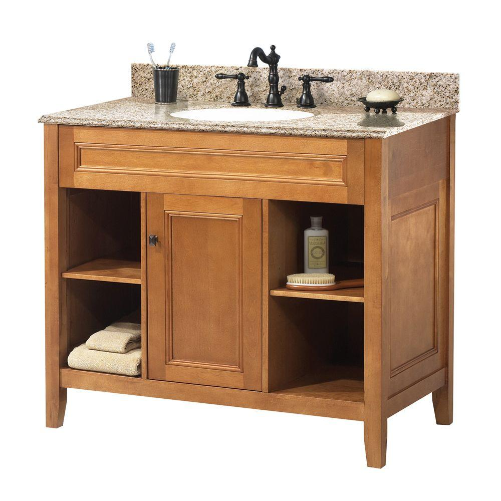 Foremost Exhibit 37 In W X 22 In D Bath Vanity In Rich Cinnamon With Granite Vanity Top In