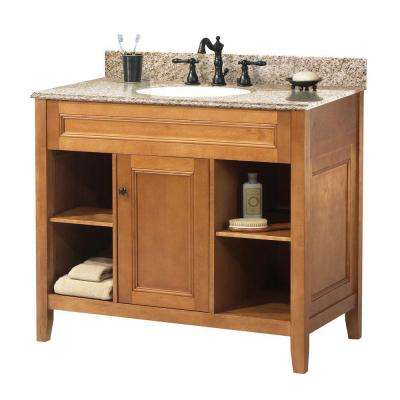Exhibit 37 in. W x 22 in. D Bath Vanity in Rich Cinnamon with Granite Vanity Top in Golden Hill