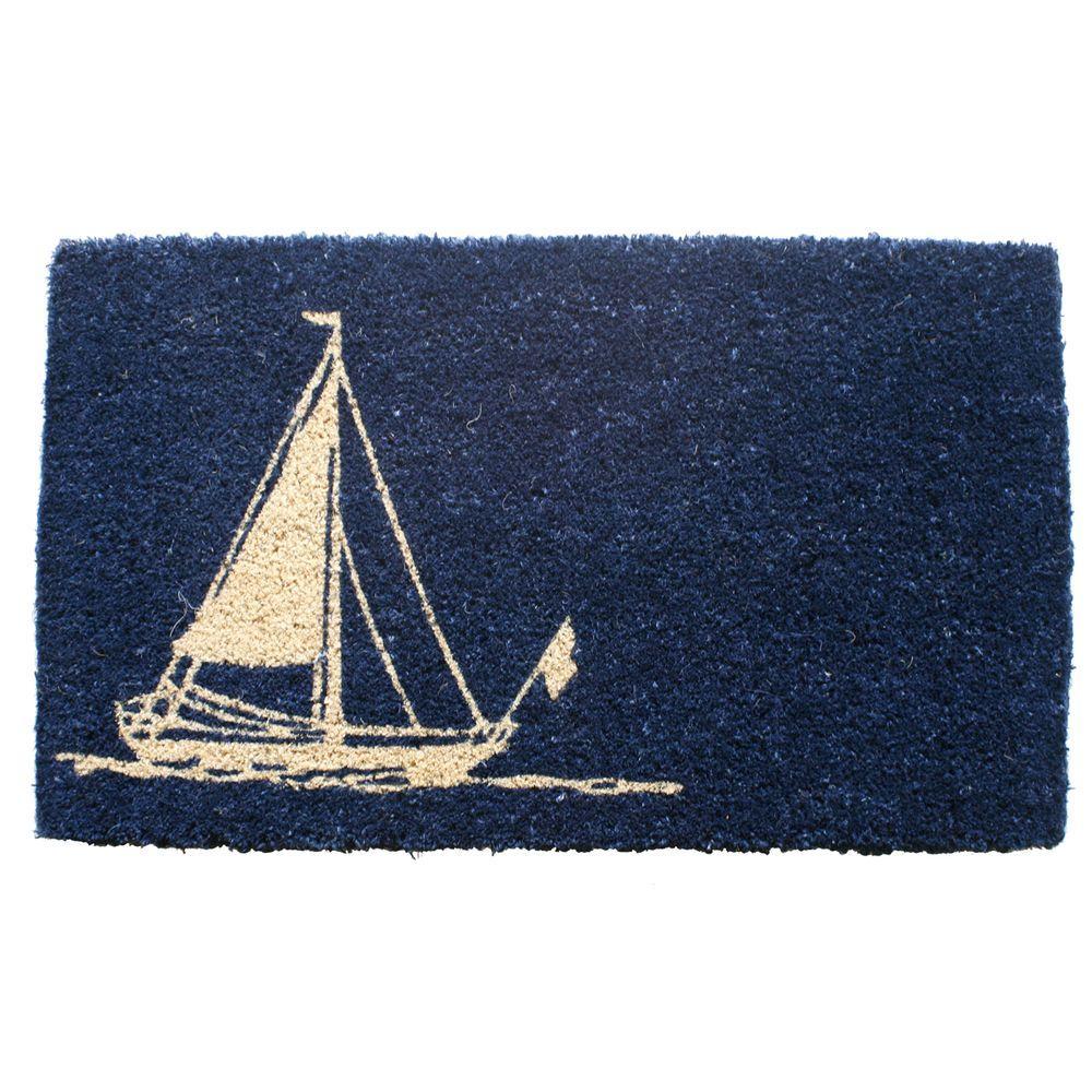 Sailboat 18 in. x 30 in. Hand Woven Coconut Fiber Door Mat
