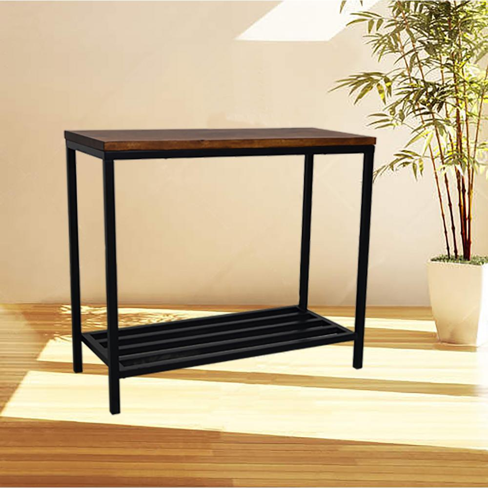 Carolina cottage ryan rich chestnut and black metal console table