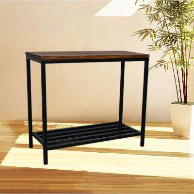 Ryan Rich Chestnut And Black Metal Console Table
