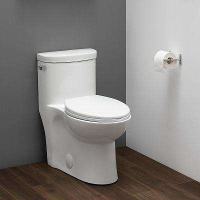 Sublime 1-Piece 1.28 GPF Single Flush Elongated Toilet in White Seat Included