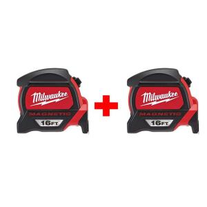 2-Pack Milwaukee 16 ft. Premium Magnetic Tape Measure