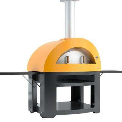 Forno Allegro 39.37 in. x 27.56 in. Outdoor Wood Burning Oven with Cart in Yellow