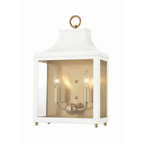 Leigh 2-Light Aged Brass/White Wall Sconce