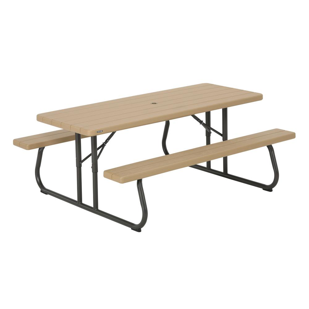 Lifetime 6 ft. Heather Beige Folding Picnic Table