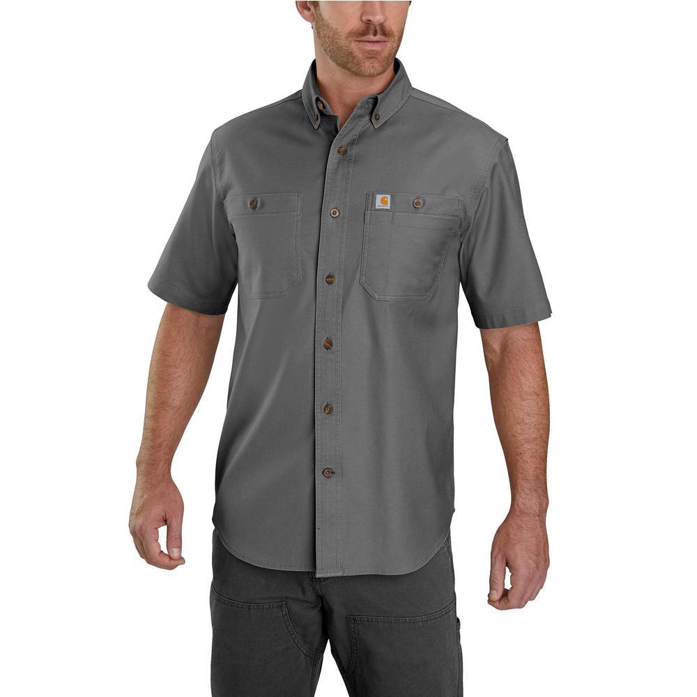 12269ad9 Men's Medium Gravel Cotton/Spandex Rugged Flex Rigby Short Sleeve Work Shirt