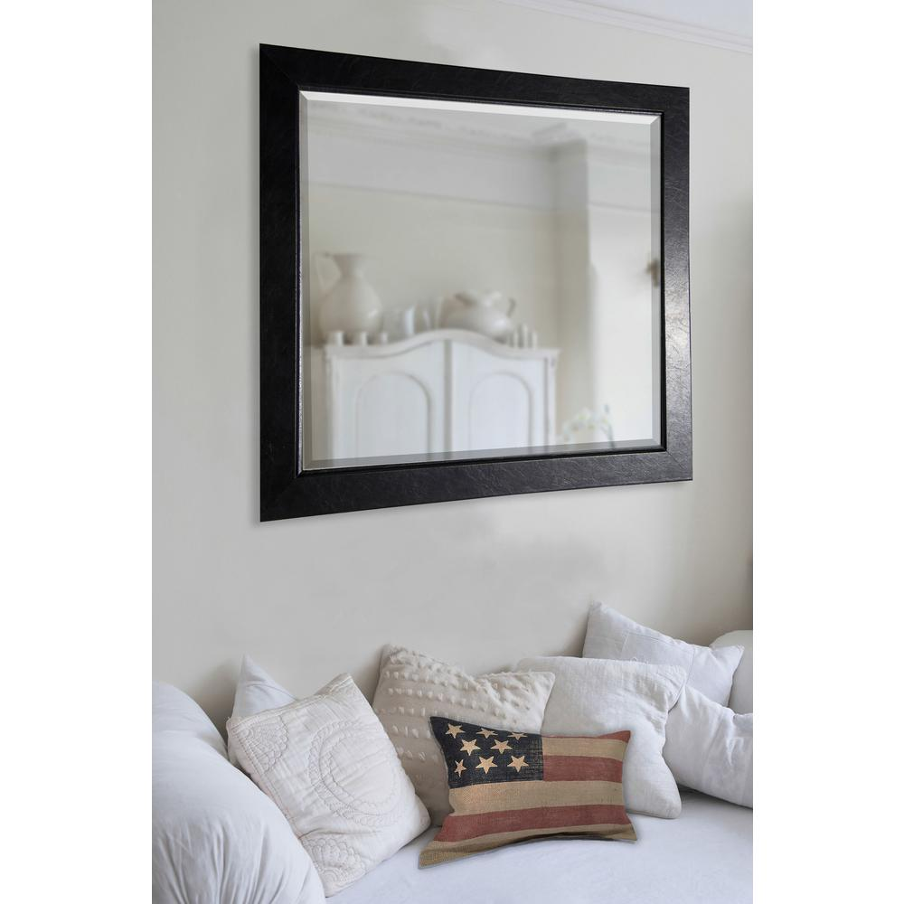 35 in. x 35 in. Black Superior Rounded Beveled Wall Mirror