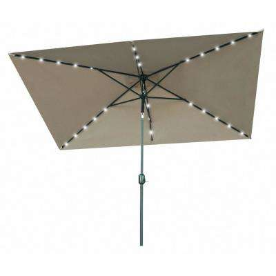 10 ft. x 6.5 ft. Rectangular Market Solar Powered LED Lighted Patio Umbrella in Tan
