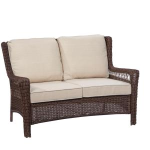 Hampton Bay Park Meadows Brown Wicker Outdoor Loveseat with Beige Cushion by Hampton Bay