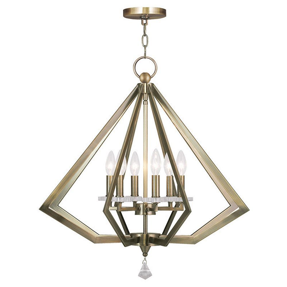 Diamond 6-Light Antique Brass Chandelier