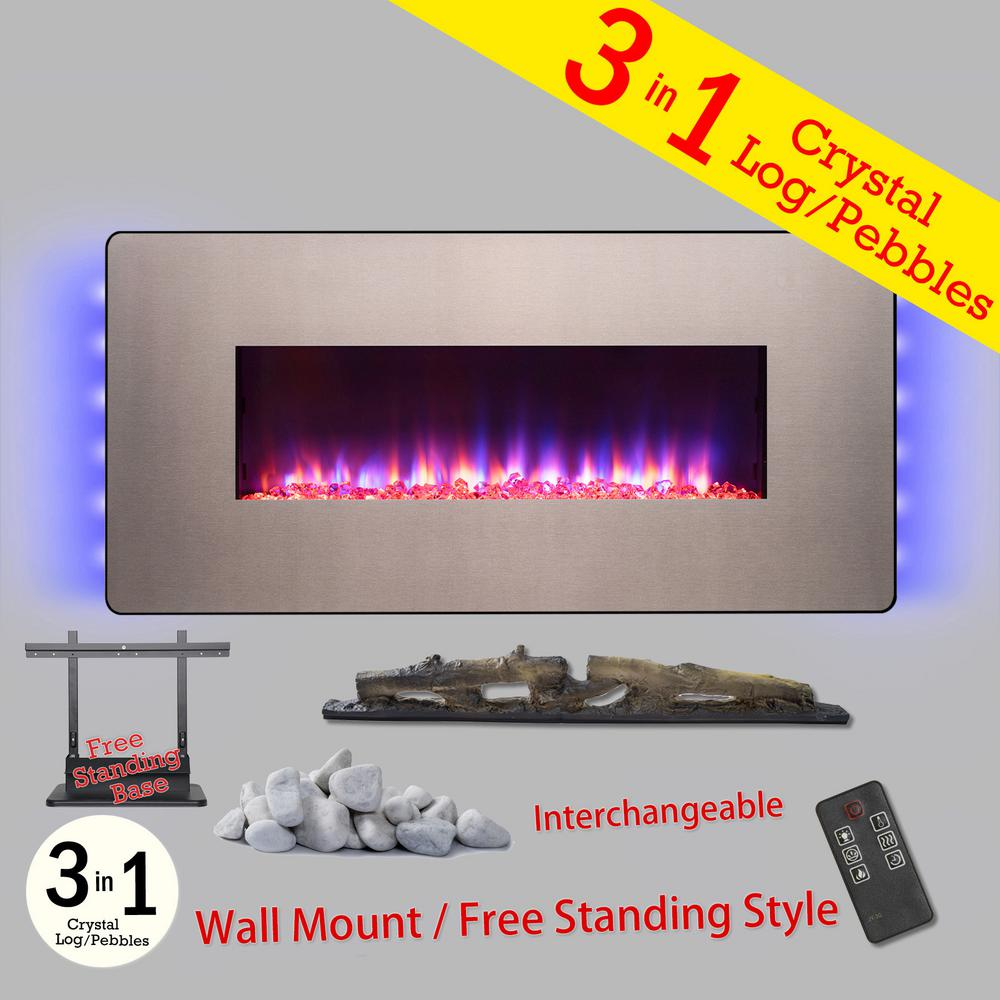48 in. Wall Mount Freestanding Convertible Electric Fireplace Heater in Gray