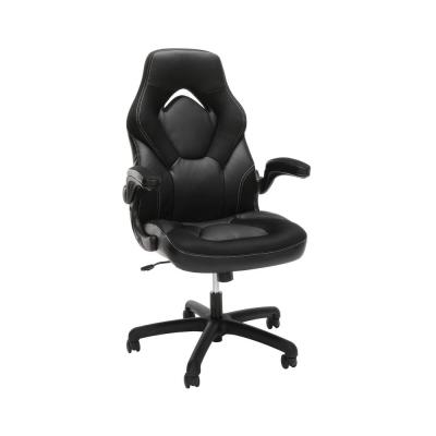Essentials Collection Black Racing Style Bonded Leather Gaming Chair (ESS-3085-BLK)