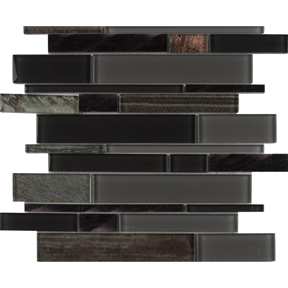 Metallica Interlocking 12 in. x 12 in. x 6 mm Glass/Metal