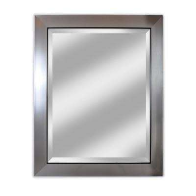 """Brighton Beveled Mirror with Silver Frame and Black Trim 29"""" x 35"""""""